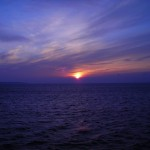 Auf der Bodenseefähre, Blick über den morgendlichen See, das Foto ist unbearbeitet